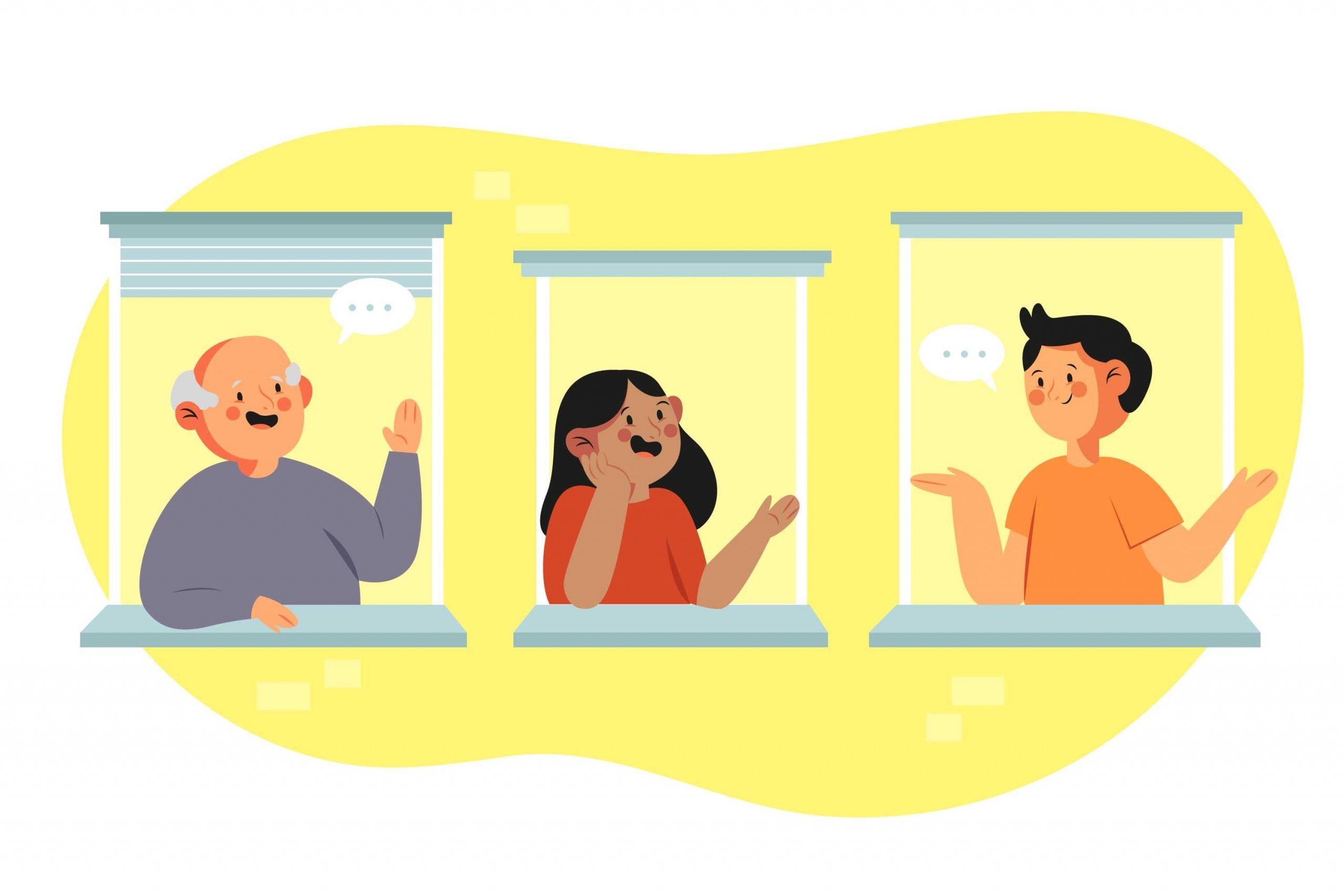 Ilustración en la que aparecen tres vecinos hablando desde sus balcones