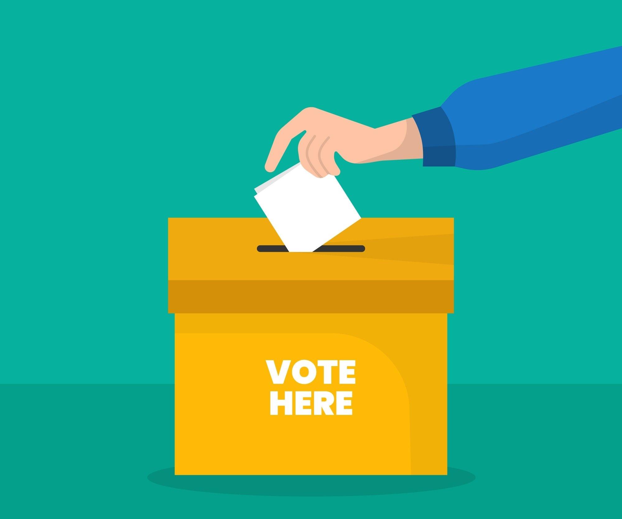 Ilustración en la que una persona deposita su voto en una urna