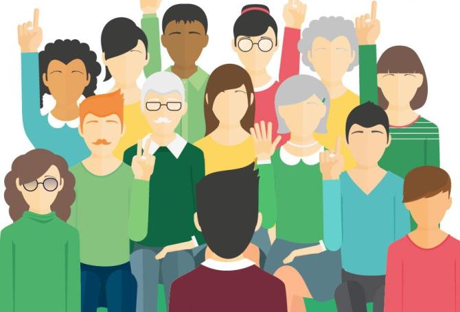 Ilustración en la que aparecen varios personajes alzando la mano para votar